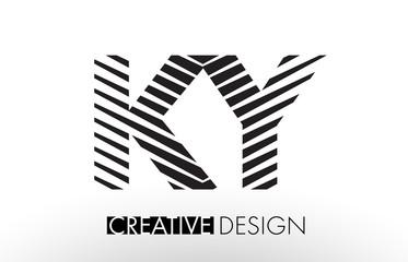 KY K Y Lines Letter Design with Creative Elegant Zebra