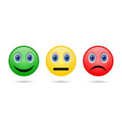 Emoticon evaluation feedback icon, smiley different mood. Vector.