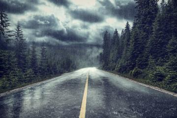 Unwetter mit Regen auf Strasse am Wald