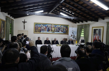 Cardinal Santos Abril y Castello speaks during a news conference in Asuncion