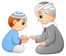 Kid learning read quran to his father isolated on white background