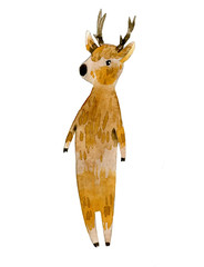 Hand drawn watercolor portraits of the cute cartoon small deer on white
