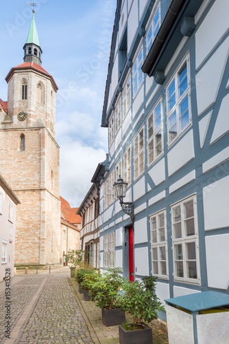 St Magni Church And Street With Old Half Timbered Buildings
