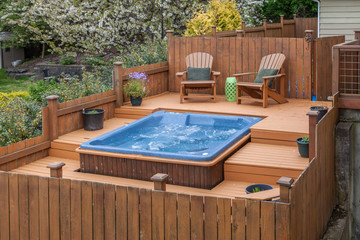 outdoor spa on deck