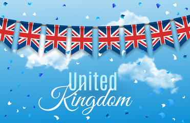 Colorful flag garlands of Great Britain, United Kingdom with confetti on blue sky with clouds background. Festive background for national, formal and informal holidays in the UK. Vector illustration