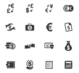 Currency exchange icons set