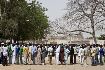 Voters queue to register during parliamentary elections in Kano, northern Nigeria