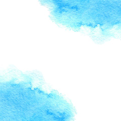 Hand drawn watercolor blue texture isolated on the white background. Suitable for cards and invitations.