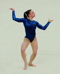 Britain's Hannah Whelan performs her floor exercise during the women's gymnastics team final at the London 2012 Olympic Games