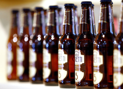 Bottles of Angelo Poretti italian beer are seen at the 50th Vinitaly international wine and spirits exhibition in Verona