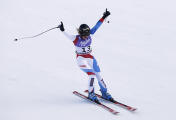 Lara Gut of Switzerland reacts during the women's Super G race at the World Alpine Skiing Championships in Schladming