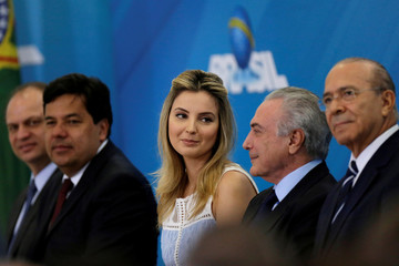 First lady Marcela Temer, looks on during a launch ceremony of the Happy Child Program at the Planalto Palace in Brasilia