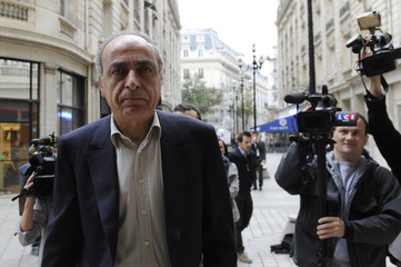 Businessman Takieddine arrives for a hearing at the financial unit in Paris