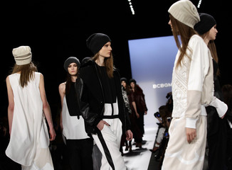 Models present creations from the BCBG Max Azria Autumn/Winter 2013 collection during New York Fashion Week