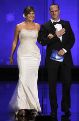Presenters Mariska Hargitay and Christopher Meloni arrive onstage at the 62nd annual Primetime Emmy Awards in Los Angeles