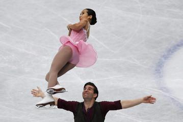 Felicia Zhang and Nathan Bartholomay of the U.S. compete during the pairs short program at the ISU World Figure Skating Championships in Saitama, Japan
