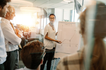 Businesswoman giving presentation to coworker over flip board