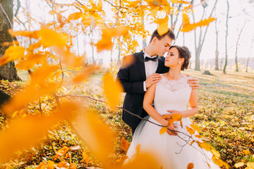 The sensitive outdoor portrait of the happy newlyweds. The groom is hugging the bride back behind the blurred yellowed trees.