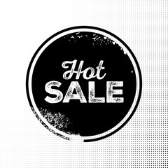 Hot Sale Black Badge with Grunge Texture on Halftone Background.