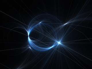 Blue glowing plasma with intersection lines in space