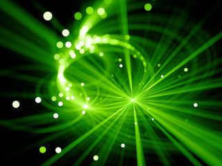 Green glowing star explosion with particles in space, depth of field, bokeh