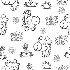 Pattern giraffe and flower hand draw