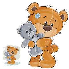 Vector illustration of a brown teddy bear hugging his soft toy and missing someone. Print, template, design element