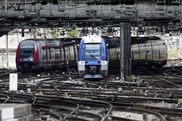 A Transilien, the suburban railway service of French state-owned railway company SNCF, arrives at Gare de l'Est train station in Paris