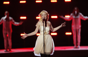 """Anna Bergendahl from Sweden performs her song """"This Is My Life"""" during a dress rehearsal for semi-final two of the Eurovision Song Contest in Oslo"""