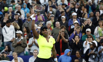 Williams of the U.S. gestures after her semi-final win against Cirstea of Romania at the Stanford Classic women's tennis tournament in Palo Alto