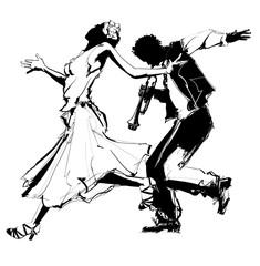 Kobieta tańczy z trębaczem - 153439370