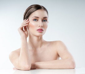 Beautiful Young adult  Woman with Clean Fresh Skin. Perfect skin Cosmetology, beauty and spa .