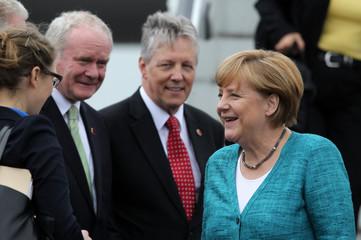 Germany's Chancellor Angela Merkel arrives to attend the Enniskillen G8 summit