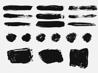 Set of black paint, ink brush strokes, brushes, lines. Dirty artistic design element