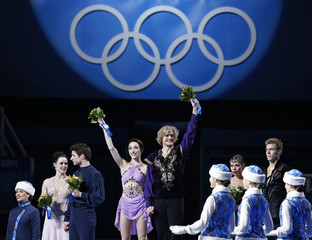 Flower ceremony for ice dance free dance program at Sochi 2014 Winter Olympics