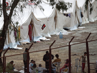 A refugee camp is seen in the Turkish border town of Yayladagi