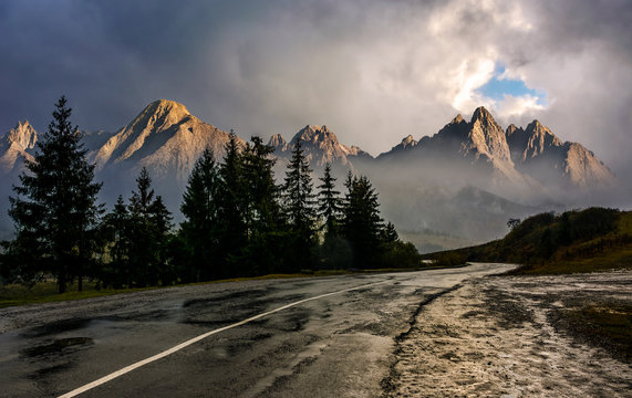 road to High Tatra Mountain Ridge in stormy weather