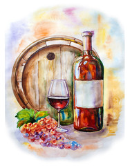 Bottle of red wine and glass on background of wooden barrel with bunch of grapes