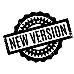 New Version rubber stamp. Grunge design with dust scratches. Effects can be easily removed for a clean, crisp look. Color is easily changed.