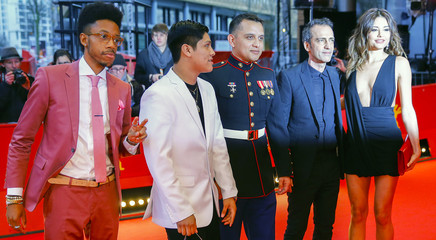 Actors Britt-Gibson, Ortiz, military advisor Torres, director Pitts and actress Uruena arrive for the screening of the movie 'Soy Nero' at the 66th Berlinale International Film Festival in Berlin