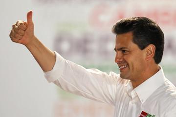 Pena Nieto, presidential candidate for PRI, gestures during a rally in Guadalajara