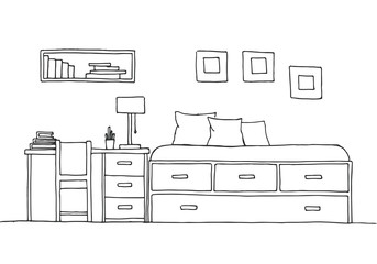 Children's room. Children's furniture. Bed, table and chair. Hand drawn vector illustration of a sketch style.