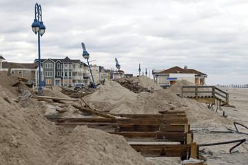 Damage caused by Hurricane Sandy along what was a boardwalk is seen in Belmar