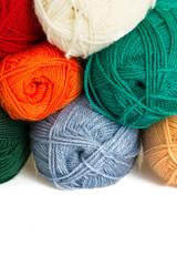 colorful wool yarn rolls