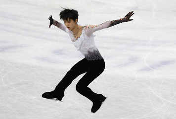 Japan's Yuzuru Hanyu competes during the men's free program at the ISU World Figure Skating Championships in Saitama