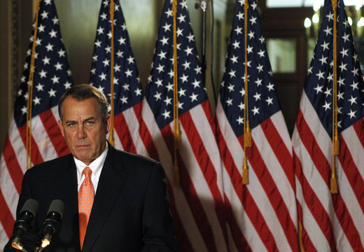 House Speaker Boehner makes brief statement to the media at the Capitol in Washington