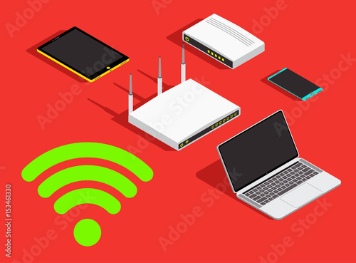 Technology concept background wireless devices sharing wifi network technology concept background wireless devices sharing wifi network bandwidth connection wi fi icon keyboard keysfo Images