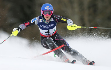 Laurenne Ross of the U.S. skis during the women's super combined Slalom race at the World Alpine Skiing Championships in Schladming