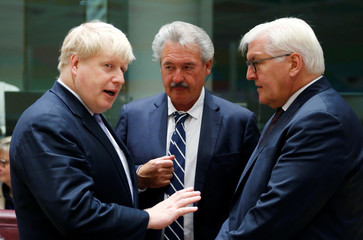 Britain's Foreign Secretary Johnson, Luxembourg's Foreign Minister Asselborn and German counterpart Steinmeier attend a EU foreign ministers meeting in Brussels