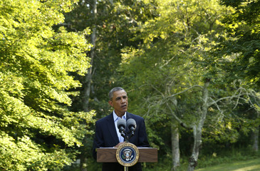 U.S. President Obama delivers a statement on the situation in Iraq from his vacation compound at Martha's Vineyard, Massachusetts
